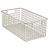 InterDesign Classico Wire Storage Basket for Kitchen, Pantry, Cabinet - Deep, Satin