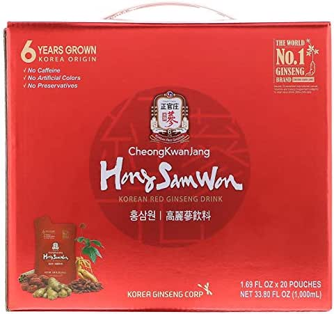 Hong Sam Won, Korean Red Ginseng Drink, 20 Pouches, 1.69 fl oz (50 ml) Each