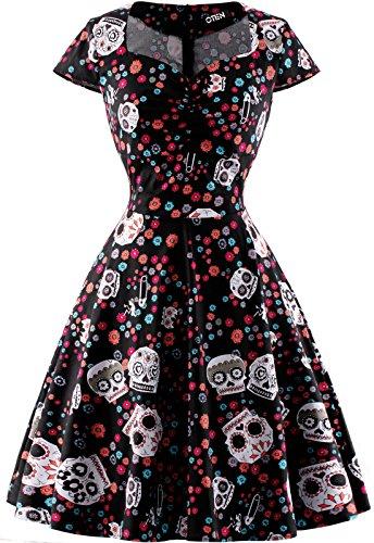 oten Women\'s Christmas Polka Dot Sugar Skull Vintage Swing Retro Rockabilly Cocktail Party Dress Cap Sleeve Black