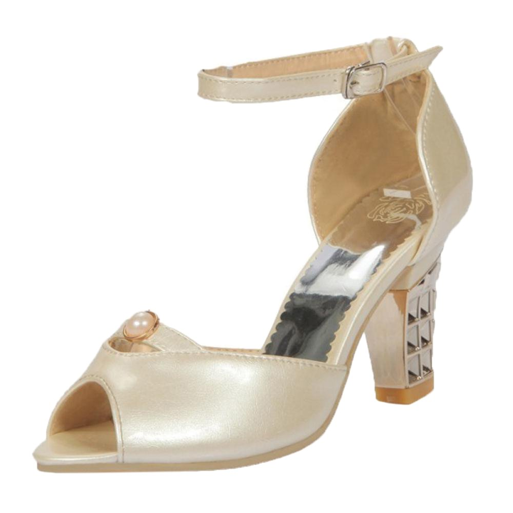 FANIMILA Women Block Heel Sandals 8 US US US = 25 CM|Beige B07D74856L 00cdae