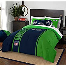 Seattle Seahawks Embroidered Twin Comforter & Sham Set, NFL Boys Bedding