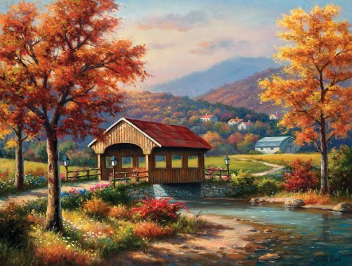 CoveROT Bridge in Fall a 500-Piece Jigsaw Puzzle by Sunsout Inc. by SunsOut