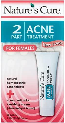 Nature's Cure 2 Part Acne Treatment for Females 60 tablets 1 oz Cream