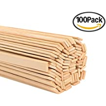 Satinior 15.7 Inches 100 Pieces Wood Craft Sticks Natural Bamboo Sticks Extra Long Sticks Can be Curved