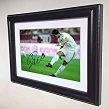 Signed Black Soccer Cristiano Ronaldo Real Madrid Autographed Photo Photograph Picture Frame Gift SM