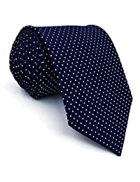 Shlax&Wing Extra Long Size Dots Blue Navy Mens Neckties Ties For Men Silk