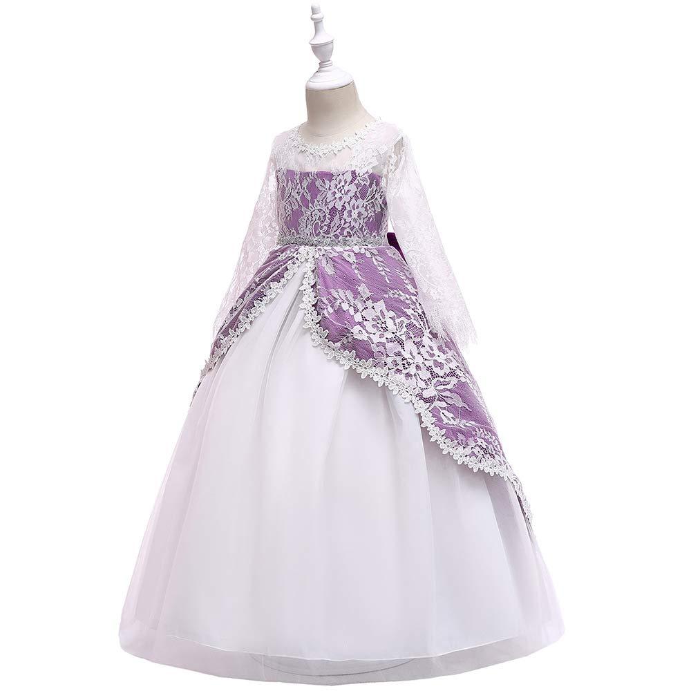 Violet Profond 140cm ZSCRL Robes pour Enfants européens et américains, Robe de soirée en Dentelle à Manches Longues pour Fille, Robe de soirée Anniversaire