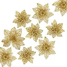 Naler 24 Pieces Christmas Glitter Poinsettia Flowers Artificial Xmas Flowers for Christmas Tree Wreaths Wedding Ornaments, Gold, 3/4/6 Inch
