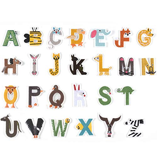 J.CARP 26Pcs Animals Alphabet A to Z Patches, Iron on Sew on Letters for Clothing, Hats, Shoes, Backpacks, Handbags, Jeans, Jackets etc.