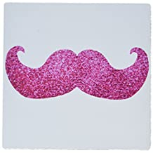 3dRose LLC 8 x 8 x 0.25 Inches Mouse Pad, Hot Pink Bling Mustache Faux Glitter Fun Girly Moustache Photo Graphic Not Actual Glitter (mp_112879_1)
