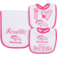 NFL Girls 2 Dribbler Bibs & 1 Burp Cloth Set