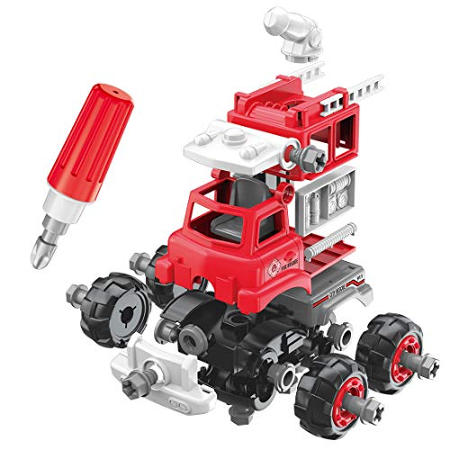 OU Fire Truck Toy,Take Apart Toys with Drill for Boys,Kids Fire Truck StemToysfor3 4 5 6 7YearOld,2 in one DIY ToyCar ,Educational Toys Gifts for Kids