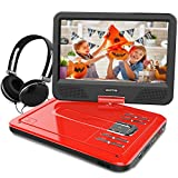 WONNIE 10.1 inch Portable DVD Player CD Player Backpack & Earphone, Swivel Screen Remote Control 5 Hours Rechargeable Battery AC Adapter Car Charger, Mini DVD Player, Support USB/SD Slot (Red)