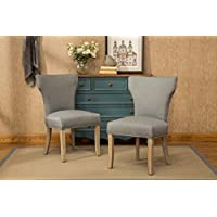 Roundhill Furniture C175GY Caen Nailhead Trim Armless Chair, Set of 2, Grey