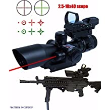 Twod Rifle Scope 2.5-10x 40 Dual Illuminated Mil-dot Gun Scopes with Red Laser w/ Weaver-picatinny Rail Mount