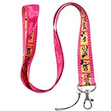 Hot Pink and Yellow Film Mouse Keychain Key Chain Lanyard Straps with Mini Silver Steel Spring Clips (MCL-180) by United Arrow