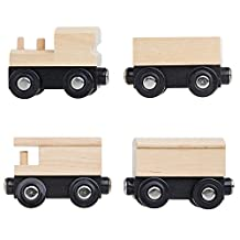 Unpainted Train Cars for Wooden Railway Compatible with Thomas, Chuggington, Brio, Set of 4, Great for Party