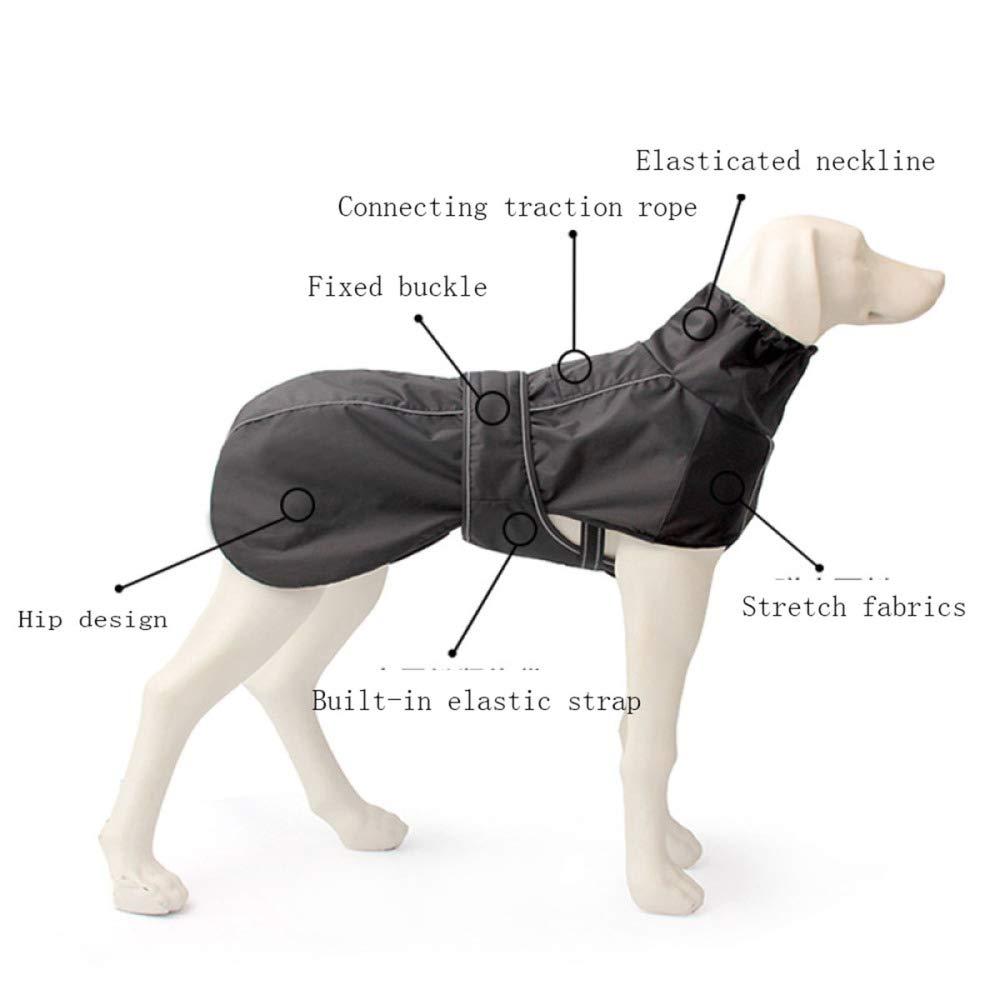 JIAQING Moda Cinturino Pettorale Esterno con Giacca Quattro Stagioni Antivento Impermeabile Grande Cane Vestiti per Animali Neri,nero(2XL)