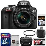Nikon D3400 Digital SLR Camera & 18-55mm VR DX AF-P Zoom Lens (Black) 32GB Card + Case + Filter Kit (Certified Refurbished)