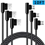 90 Degree Micro USB Cable Extra Long Android Charger Cable 10FT 3 Pack Durable Braided Phone Charger Cord for Samsung Galaxy S7 S6,Note,LG,Nexus,PS4(Black White,10ft)
