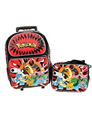 Pokemon Large 16 Rolling Backpack & Lunch Box Set