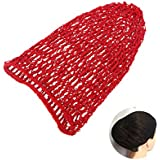 LUOEM Women Hair Net for Sleeping Crochet Hairnet Cap Snood Cover Rayon Net (Red)
