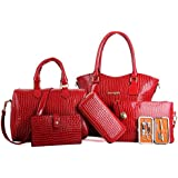 AutumnFall Womens 6 Pcs Shoulder Bags Top-Handle Handbag Tote Purse Set (Red)