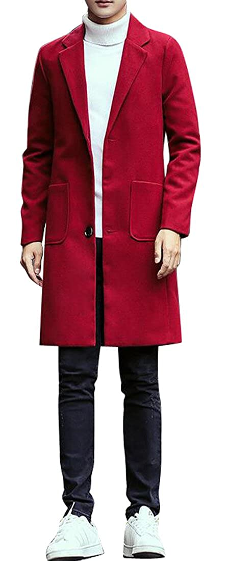 Wine Red WAYA WAYA WAYA Mens Solid Long Sleeve Lapel Slim Fit Trench Coat Outerwear Overcoat 0e7c56
