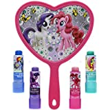 TownleyGirl My Little Pony Super Sparkly Lip Balm Set for Girls, with 4 Fruity Flavors and Decorative Mirror