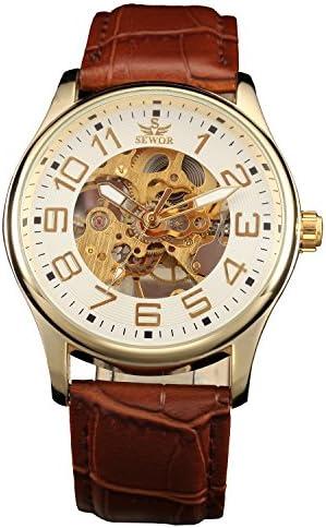 Sewor men's skeleton transparent mechanical wrist watch for men, brown leather skeleton movement