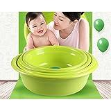 "14 inches Thick plastic wash basin home large wash basin washing clothes pots laundry tub Kitchen Vegetable Washing basin Green (12"")"