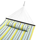 Sportneer Double Hammock Quilted Fabric Double Wide Solid Spreader Bar for Outdoor Patio Yard, 450lbs Capacity