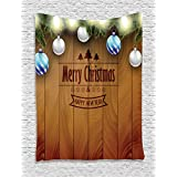 Ambesonne Christmas Decorations Collection, Wooden Setting with Bright Silver Balls Fairy Lights and Pine Twigs Best Wishes Theme, Bedroom Living Room Dorm Wall Hanging Tapestry, Brown
