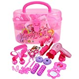 Diy Makeup Vanity Arshiner Little Girls Pretend Play Makeup Kit DIY Plastic Play Set Toy with Storage Box