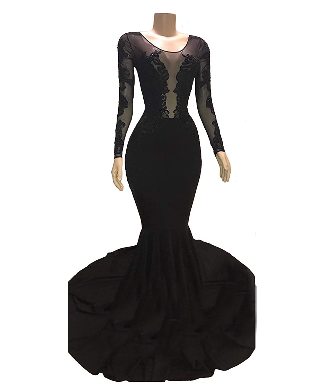 Black C Topashe Women's Velvet Mermaid Prom Dress gold Appliques Long Sleeves Evening Gowns