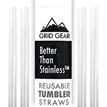 Reusable Tumbler Straws for 30 oz RTIC YETI Ozark Trail | Thick Plastic | works with 16 20 ounce Tervis | Mason Jar Straw Lids | Better Than Stainless Steel | 4 Straws per Package