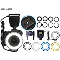 FOSITAN RF-550E LCD Screen Macro 48 pcs LED Ring Flash Light For Sony A900 A850 A560 A77 A65 with Diffuser( Cold/Blue,Warm/Yellow,White,Clear) 3000k-15000k and Lens Adapter(49,52,55,58,62,67,72,77mm)