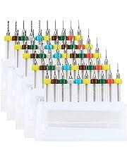 WayinTop 50pcs PCB Drill Bits Set Spiral Flute Carbide 0.3mm-1.2mm for Print Circuit Board Stone Dremel Jewelry CNC Engraving (5PCS Each)