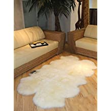 Genuine Sheepskin Rug Four Pelt Natural White 4x6
