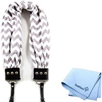 Capturing Couture Grey & White Chevron Scarf Super Comfortable Camera Strap and a Bonus Ivation Spot Cleaning Cloth