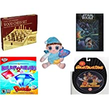 Children's Fun & Educational Gift Bundle - Ages 6-12 [5 Piece] - Classic Wood Folding Chess Set Game - Star Wars A New Hope 550 Piece Fully Interlocking Puzzle - Sugar Loaf Holiday Collection Night