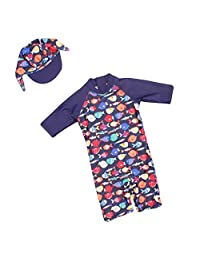 Kid Swimsuit Sun Protective Swimwear Toddler Sun Suit with Hat,Rash Guard UPF 50+