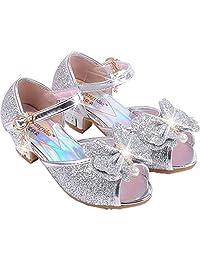 Children Princess Aisha Girls Sequin Sandals crystal High Heels Shoes