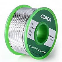 Austor 1.0mm Lead Free Solder Wire with Rosin Core, Sn 99% Ag 0.3% Cu 0.7%, 100g