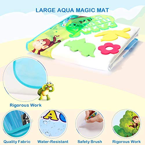 Extra Large Aqua Water Drawing MagicMat - Free to Fly 2021 Updated Color Painting Doodle Board Doodle Magic Mat with No Mess, Educational Kid Toys Gift for Boys and Girls Age 3 4 5 6 7