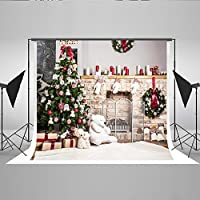 Kate 10x6.5ft Christmas Backdrop For Photography White Brick Fireplace Bear Christmas Tree Santa Backgrounds