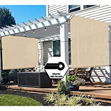 TANG 12'x12' Beige Outdoor Sun Shade Panel Universal Pergola Replacement Cover Canopy with Grommets Weight Rods Sun Block Cover for Patio Backyard