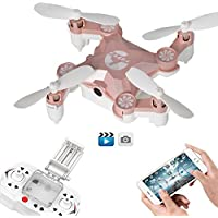 Remote Controlled Rechargeable Mini Quadcopter Rotatable Motor Arm Helicopter Wifi FPV Drone with HD Camera Foldable Pocket Aircraft(Pink)