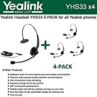 Bundle of 4 Yealink YHS33 Wideband Headset for Yealink IP Phones, plug and play