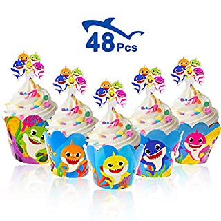 Bomcan 48 Pcs Baby Shark Cupcake Toppers and Wrappers, 24 Set Cute Shark Cupcake Liners & Decorations for 1st, 2nd Boys and Girls Birthday Party, Baby Shower, Shark Themed Party